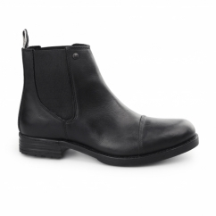 SIMON Mens Waxy Leather Chelsea Boots Anthracite