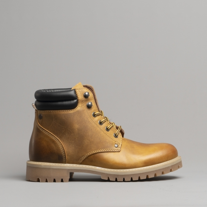 best loved best place sports shoes STOKE Mens Leather Ankle Boots Honey
