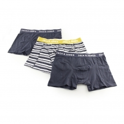 STRAIGHT Mens Striped Trunks 3 Pack Navy Blazer/Amber Gold