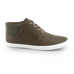 VERTIGO Mens PU Mid-Top Trainers Cognac