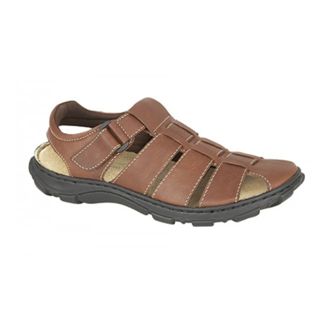Roamers JACOB Mens Leather Velcro Comfort Sandals Brown