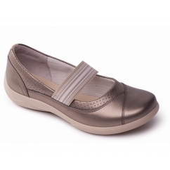 JADE Ladies Leather Wide Mary Jane Shoes Metallic Combi