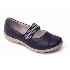 JADE Ladies Leather Wide Mary Jane Shoes Navy