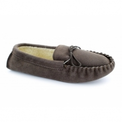 JAKE Mens Suede Moccasin Slippers Brown