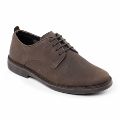 JAMIE Mens Leather Wide Derby Shoes Brown