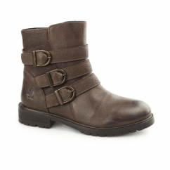 JANE KLAIN Ladies Leather Biker Boots Brown