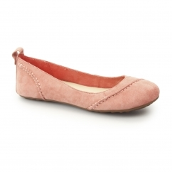 JANESSA Ladies Suede Leather Ballerina Pump Shoes Coral