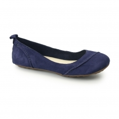 JANESSA Ladies Suede Leather Ballerina Pump Shoes Royal Navy