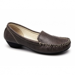 JANET Ladies Faux Leather Moccasin Loafers Brown