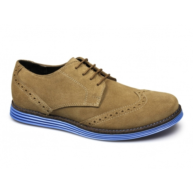 Lucini JARED Mens Suede Leather Brogue Shoes Golden Tan