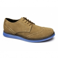 JARED Mens Suede Leather Brogue Shoes Golden Tan