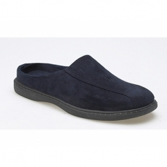 JARROW Mens Faux Suede Mule Slippers Navy Blue
