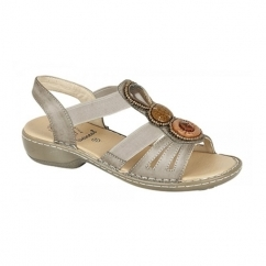 JASMINE Ladies Elasticated Halter Back Sandals Bronze