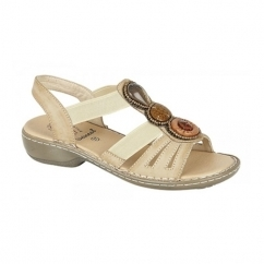 JASMINE Ladies Elasticated Halter Back Sandals Stone