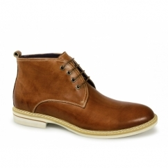 JAVIER Mens Round Toe Leather Lace Up Chukka Boots Tan