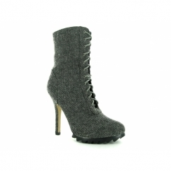 JAY Ladies Herringbone Pattern Stiletto Heel Boots Grey