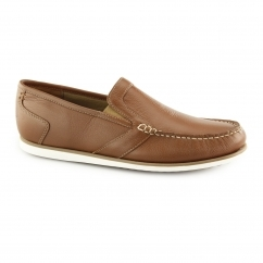 JAY PORTLAND Mens Leather Slip On Loafer Shoes Tan