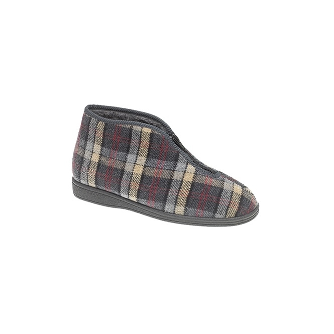 Sleepers JED II Mens Zipped Checked Thermal Bootee Slippers Grey