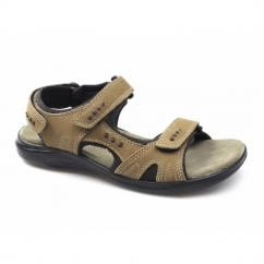 JEFFREY Mens Triple Velcro Sports Sandals Tan