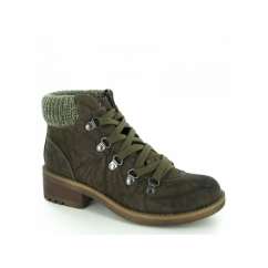 JENNA Womens Hiker D Ring Lace Up Ankle Boots Khaki