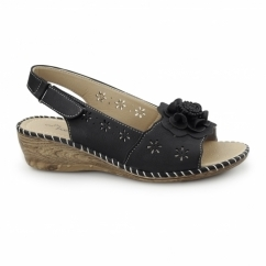 JENNY Ladies Slingback Wedge Sandals Black