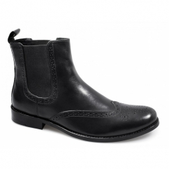 JENSEN Mens Leather Brogue Chelsea Boots Black