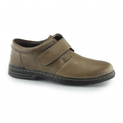 JEREMY HANSTON Mens Leather Touch Fasten Shoes Brown