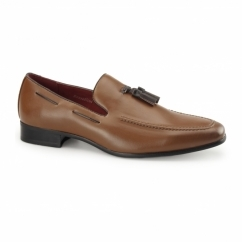 JERSEY Mens Faux Leather Loafer Shoes Brown