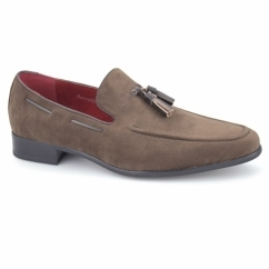 JERSEY Mens Faux Suede Loafer Shoes Brown