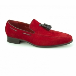 JERSEY Mens Faux Suede Loafer Shoes Red