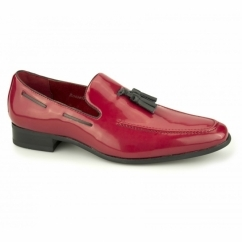 JERSEY Mens Patent Loafer Shoes Red