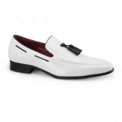 JERSEY Mens Patent Loafer Shoes White
