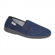JETHRO Mens Faux Suede Twin Gusset Slippers Blue