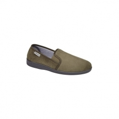 JETHRO Mens Faux Suede Twin Gusset Slippers Olive
