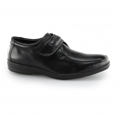 Fleet & Foster JIM Mens Leather Touch Fasten Shoes Black | Shuperb