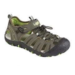 JIMMY Boys Nubuck Toggle Velcro Sports Sandals Dark Taupe/Lime