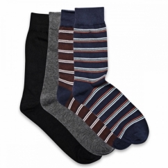 JJ CLASSIC MIX STRIPES Mens Cotton Socks 4 Pack Navy Blazer/Fudge