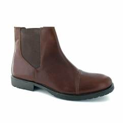 JJ RADNOR Mens Leather Chelsea Boots Brown Stone