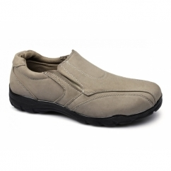 JOEY Mens Faux Nubuck Slip-On Shoes Stone