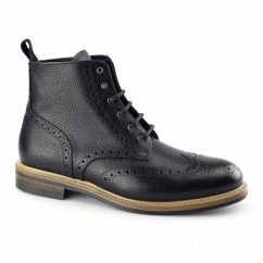 BOURTON Mens Leather Brogue Derby Boots Black