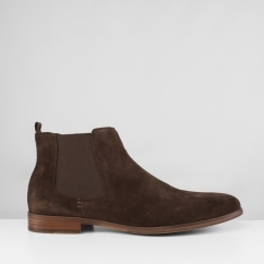 John White BRUNEL Mens Suede Chelsea Boots Brown