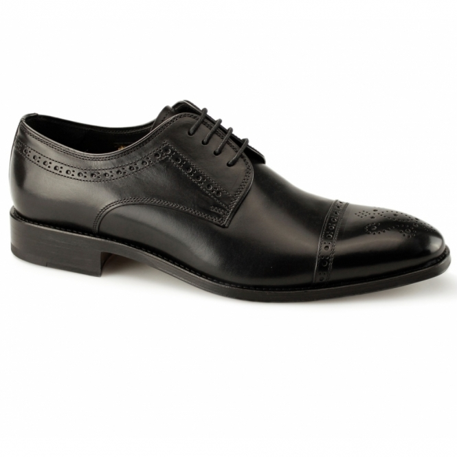 John White CHARTER Mens Leather Derby Brogue Shoes Black