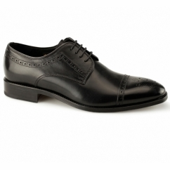 CHARTER Mens Leather Derby Brogue Shoes Black