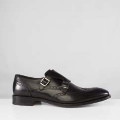 John White CLIFTON Mens Leather Double Monk Brogue Shoes Black