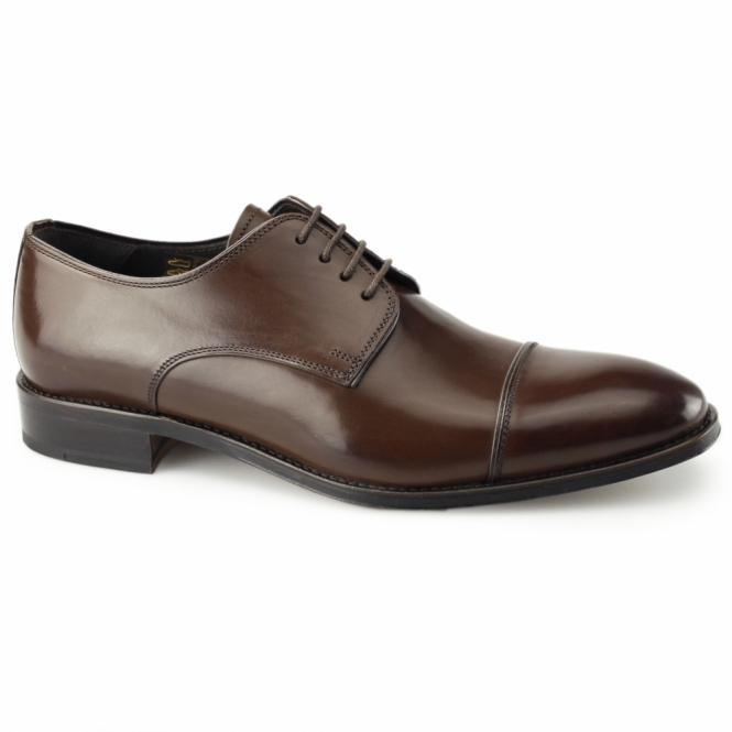 John White FINSBURY Mens Leather Derby Shoes Brown