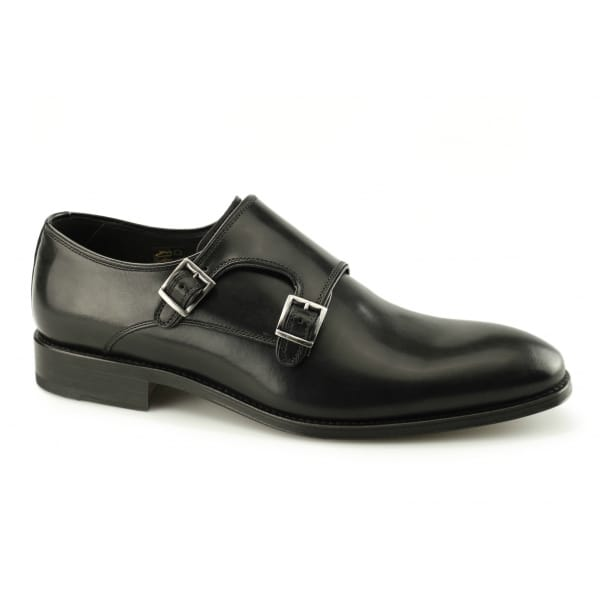 John White Black Leather Monk Shoes
