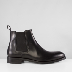 John White STABLES Mens Leather Chelsea Boots Black