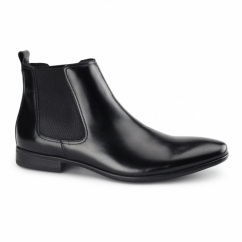 STERLING II Mens Leather Chelsea Boots Black