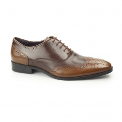 JONAS Mens Leather Two Tone Oxford Brogues Brown/Tan
