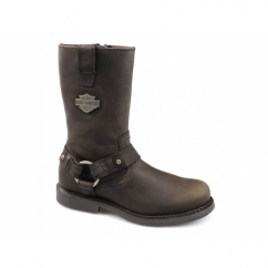 JOSH Mens Leather Zip Harness Boots Brown